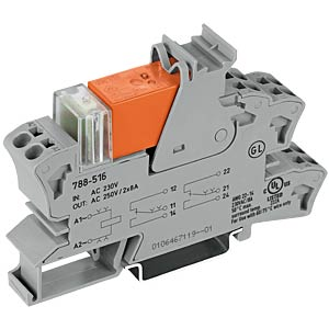Plug-in relay socket, one changeover contact, 230 V AC WAGO 788-516