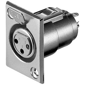 XLR panel socket, 3-pin, nickel-plated contacts FREI