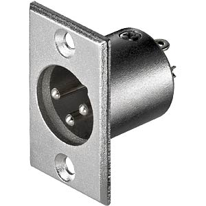 XLR panel connector, 3-pin, nickel-plated contacts FREI