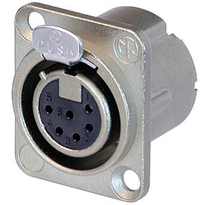 XLR 6pole female receptacle, Nickel NEUTRIK NC6FD-LX