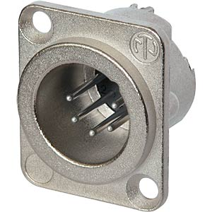 XLR 6pole male receptacle, Nickel NEUTRIK NC6MD-LX