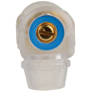 Right-angle banana connector, 4 mm, blue ID FREI