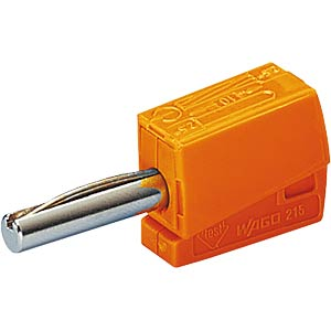 Banana plug, 4 mm, CAGE CLAMP, orange WAGO 215-211