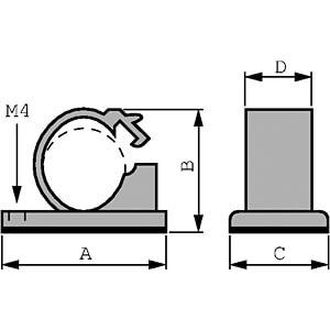 Kabelhalter, selbstklebend, Ø 14 mm RND CABLE RND 475-00313