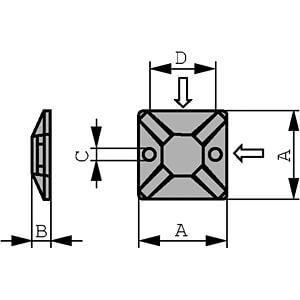 Kabelsockel für 4,6 mm Kabelbinder, schwarz, 100er-Pack RND CABLE RND 475-00387