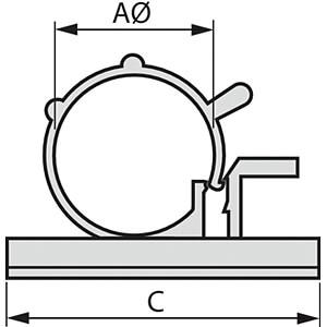 Kabelhalter, selbstklebend Ø 6-7 mm, 100er-Pack RND CABLE RND 475-00420