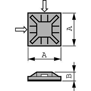 Kabelsockel für 3,2 mm Kabelbinder, weiß, 100er-Pack RND CABLE RND 475-00379