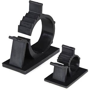 Cable holder, self-adhesive, adjustable, Ø 22.2 - 25.4, black FREI