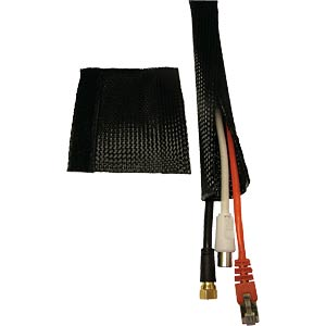 Plastic cable tidy, rip-tape fastening, black FREI