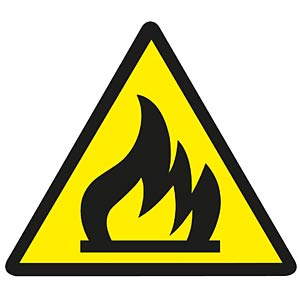 Warning sticker: Flammable materials FREI