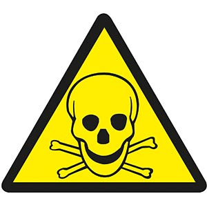 Warning sticker: Toxic materials FREI