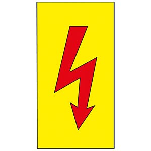 Warning sign: red lightning flash FREI