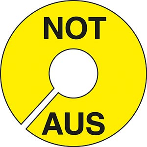Warning sign: NOT-AUS FREI
