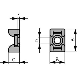 Schraubsockel für 4 mm Kabelbinder, weiß, 100er-Pack RND CABLE RND 475-00385