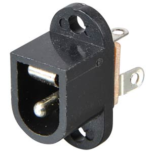 Barrel connector panel jack, plastic with pin, 2.1 mm FREI
