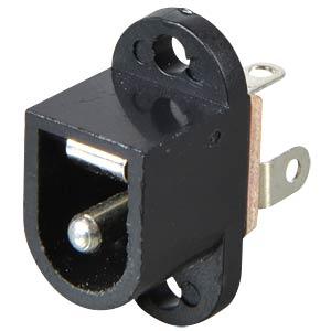 Barrel connector panel jack, plastic with pin, 2.5 mm FREI