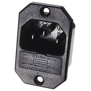 Kaltgeräte-Einbaustecker mit Sicherungseinsatz FREI