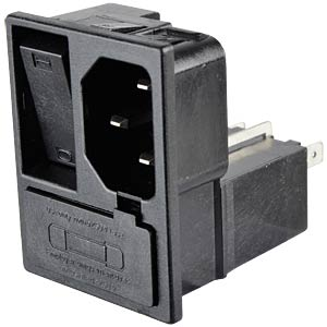 "IEC connector, ""snap-in"", with switch FREI"