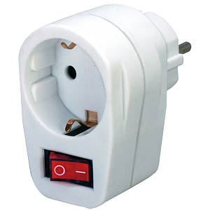 Earthed plug adapter, with switch FREI