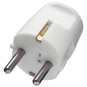 Earthed plug, plastic, straight, white FREI