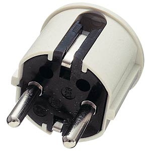 Earthed plug, angled, plastic, white FREI