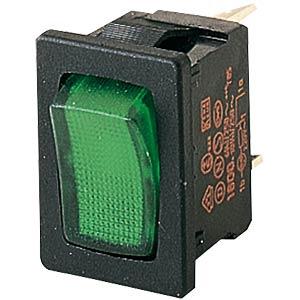 Rocker switch, 1-pole, green, illuminated MARQUARDT 01800.1108-01