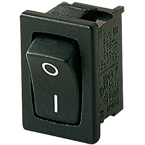 Rocker switch, 1-pin, OFF, black, I-O MARQUARDT 01801.6115-00