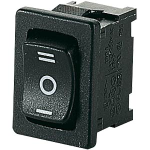Rocker switch, 1-pin, UM, black, I-O-II MARQUARDT 01808.1103-00