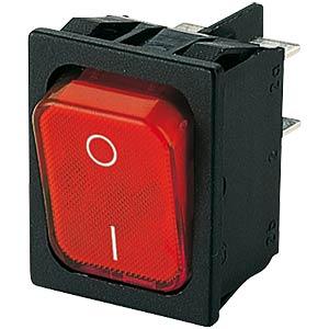 Wippschalter, 2-pol, AUS, rot I-O, beleuchtet MARQUARDT 01835.3102-01