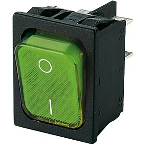 Rocker switch, 2-pin, OFF, green I-O, illuminated MARQUARDT 01835.3108-01