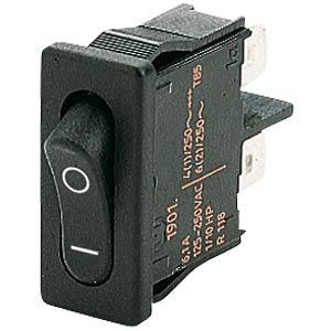 Wippschalter, 1x Aus, schwarz, I-O MARQUARDT 01901.1103-02