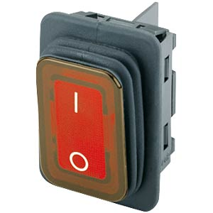 Rocker switch, 2-pin, OFF, red, I-O, illuminated MARQUARDT 01935.3112-03
