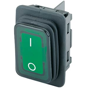 Rocker switch, 2-pin, OFF, green I-O, illuminated MARQUARDT 01935.3118-02
