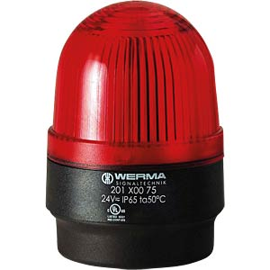 Surface-mounted LED lamp, floor red 24 V AC/DC WERMA SIGNALTECHNIK 201 100 75
