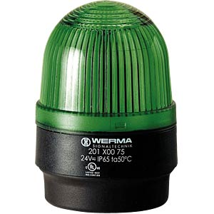 Surface-mounted LED lamp, floor, green 24 V AC/DC WERMA SIGNALTECHNIK 201 200 75