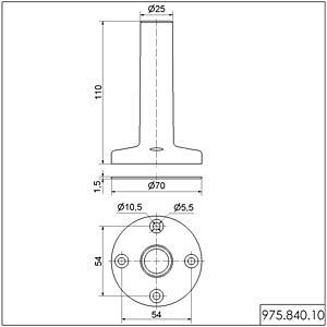 Fuß mit integriertem Rohr WERMA SIGNALTECHNIK 975 840 10