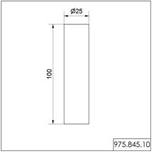 Aluminium mounting pipe, 25 mm x 100 mm WERMA SIGNALTECHNIK 975 845 10