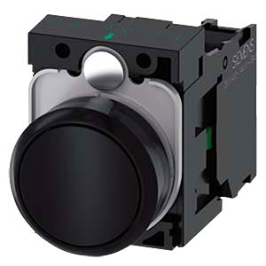 Push button, 1 NO, black, round SIEMENS 3SU1100-0AB10-1BA0