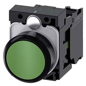 Pushbutton, 1 NO, green, round SIEMENS 3SU1100-0AB40-1BA0