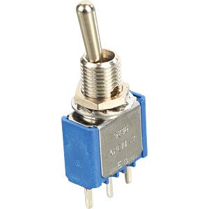 Toggle switch, solder, 1-pin, 5 A-120 V AC, on-on