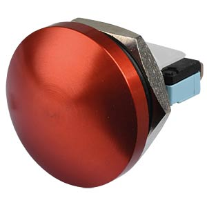 AV button Ø 22 mm — curved actuator, red anodised APEM AV22PNA62