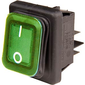 Rectangular rocker switch IP65, 2x ON - OFF, black/green EVEREL B4MASK48N1E21000