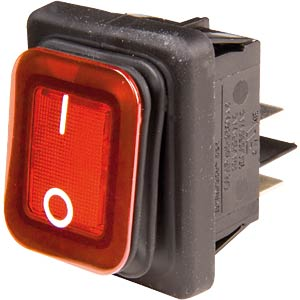 Rectangular rocker switch IP65, 2x ON - OFF, black/red EVEREL B4MASK48N1G21000