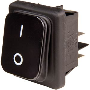 Rectangular rocker switch, IP65, 2x ON - OFF, black/black EVEREL B4MASK42N1121000