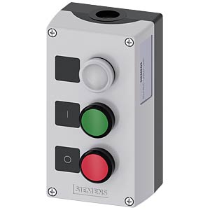 Push-button 22 mm, triple, 1 NC contact/1 NO contact, red/green, SIEMENS 3SU1803-0AB00-2AB1