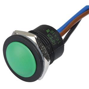 IA push-button switch, 16mm, flat profile, NC/NO, green APEM IAR5F1300