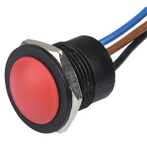 IA push-button switch, 16 mm, flat profile, NC/NO, red APEM IAR5F1600