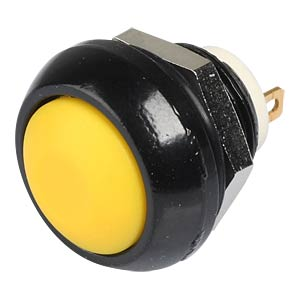 IC push-button switch, 12 mm, curved, soldered, yellow APEM ICR3SAD5
