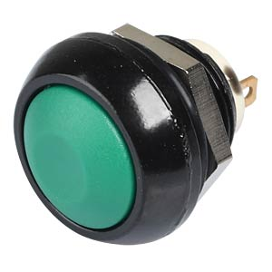IC push-button switch, 12 mm, curved, soldered, green APEM ICR3SAD3