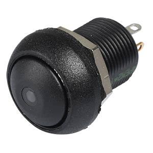 Drucktaster IL 12 mm - gewölbt, Löt, sw, LED gn APEM ILR3SAD2L0G